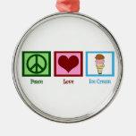 Peace Love Ice Cream Round Metal Christmas Ornament