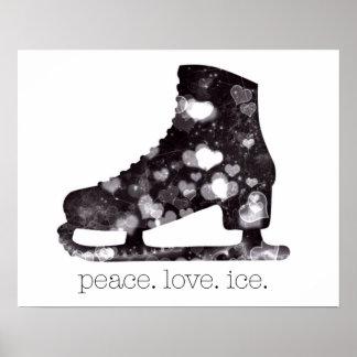 Peace Love Ice Figure Skating Art by S Szczucki Poster