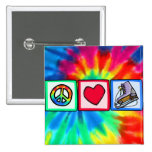 Peace, Love, Ice Skate Pinback Button