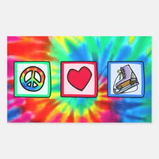 Peace, Love, Ice Skate Rectangular Stickers