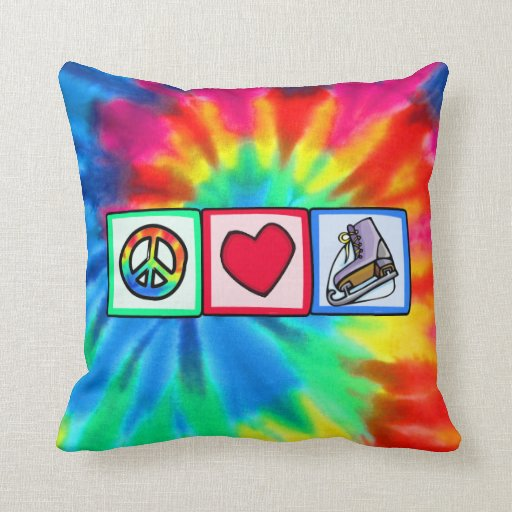 Peace, Love, Ice Skate Throw Pillow
