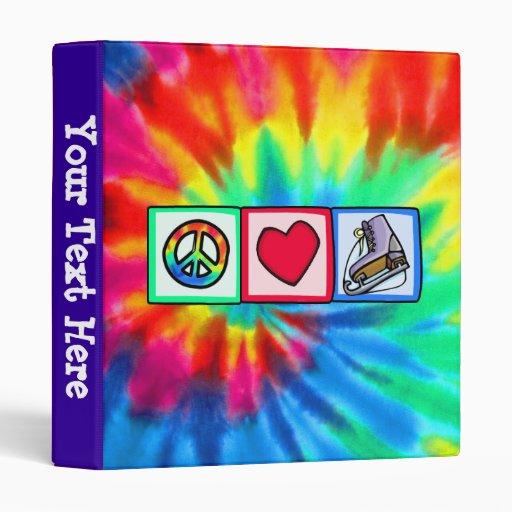 Peace, Love, Ice Skate Vinyl Binder