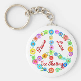 Peace Love Ice Skating Basic Round Button Keychain