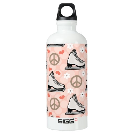 Peace Love Ice Skating BPA Free Aluminum Water Bottle