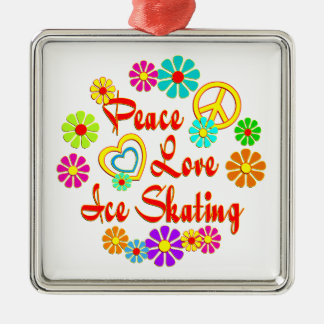PEACE LOVE Ice Skating Metal Ornament