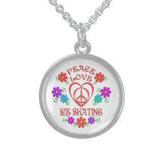 Peace Love Ice Skating Sterling Silver Necklace