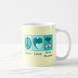 Peace Love ICU Nurse Coffee Mugs