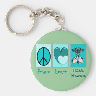 Peace Love ICU Nurse Keychain