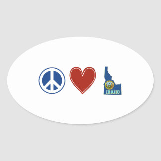 Peace Love Idaho Oval Sticker