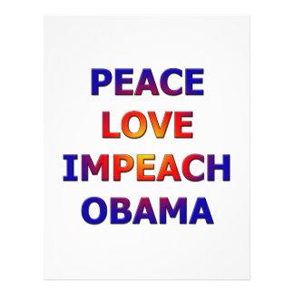 Peace Love Impeach Obama Customized Letterhead