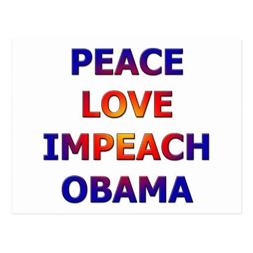 Peace Love Impeach Obama Post Cards