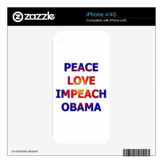 Peace Love Impeach Obama Decal For The iPhone 4