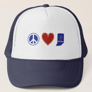 Peace Love Indiana Trucker Hat