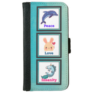 Peace Love Insanity with Dolphin Bunny Unicorn Wallet Phone Case For iPhone 6/6s