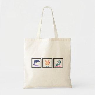Peace Love Insanity with Porpoise Rabbit Unicorn Tote Bag