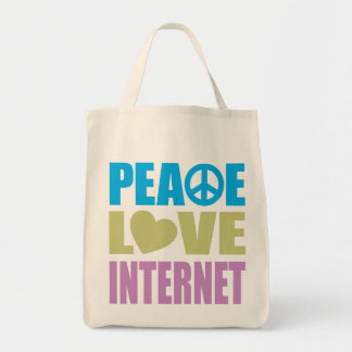 Peace Love Internet Grocery Tote Bag