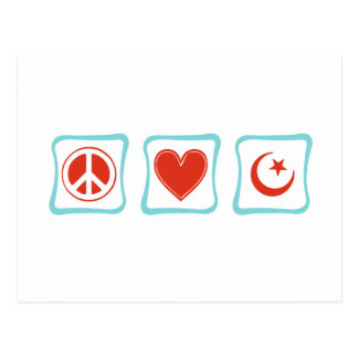 Peace Love Islam Squares Postcard