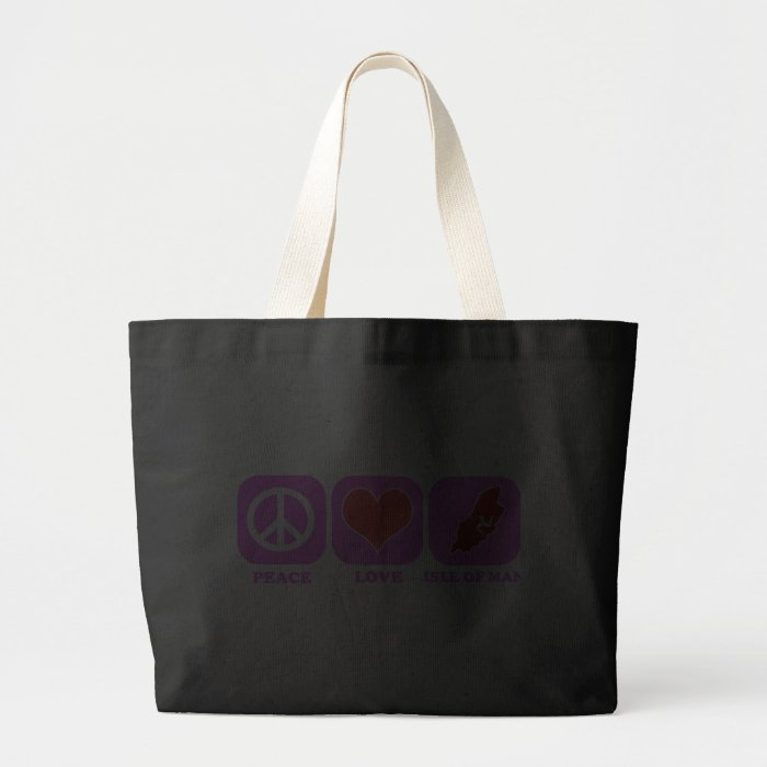 Peace Love Isle Of Man Large Tote Bag