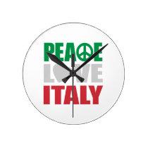 Peace Love Italy Round Clock