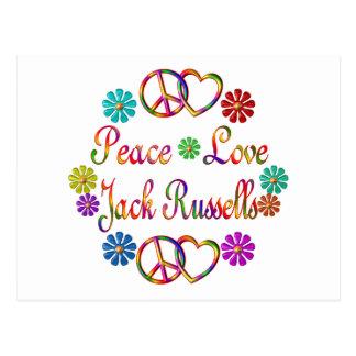 PEACE LOVE JACK RUSSELLS POSTCARD
