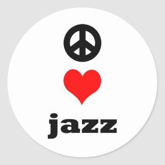peace Love Jazz Classic Round Sticker