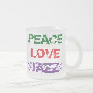 PEACE LOVE JAZZ FROSTED GLASS COFFEE MUG