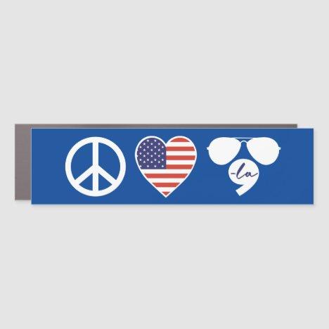 Peace Love Joe Kamala Car Magnet