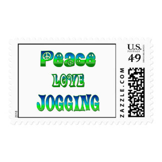 Peace Love Jogging Postage Stamp