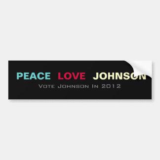 Peace Love JOHNSON 2012 Bumper Sticker Car Bumper Sticker