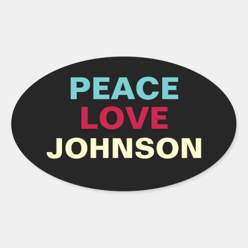 PEACE LOVE JOHNSON Oval Sticker