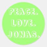 PEACE. LOVE.JONAS. CLASSIC ROUND STICKER