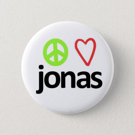 Peace, Love, Jonas Pinback Button
