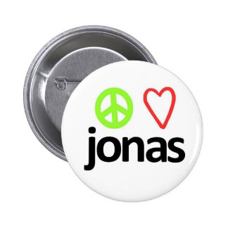 Peace, Love, Jonas Pinback Button