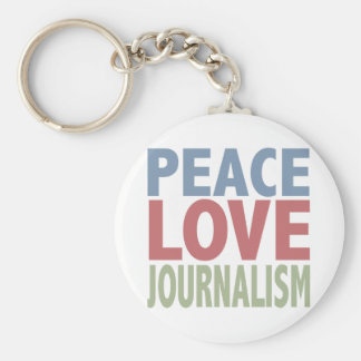 Peace Love Journalism Keychain