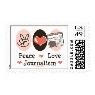 Peace Love Journalism Postage Stamps