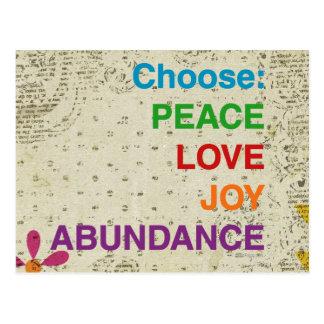 Peace Love Joy Abundance Bohemian Postcards