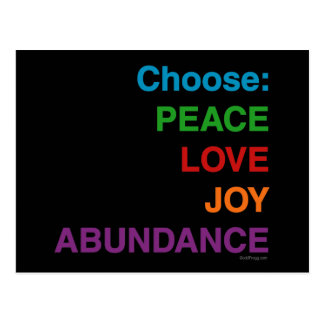 Peace Love Joy Abundance Postacards Post Cards