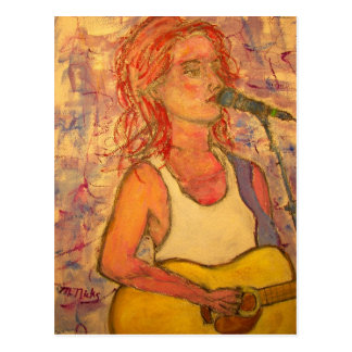 peace love joy acoustic girl postcard