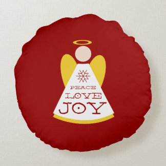 Peace Love Joy Angel Holiday Red And Gold Round Pillow