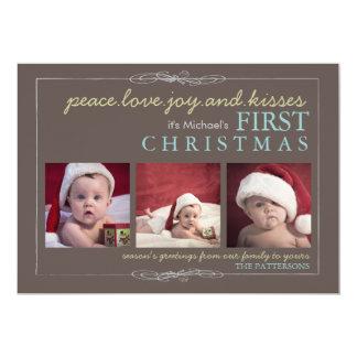 Peace Love Joy Baby's First Christmas Photo Card