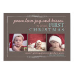 Peace Love Joy Baby's First Christmas Photo Card Personalized Announcement