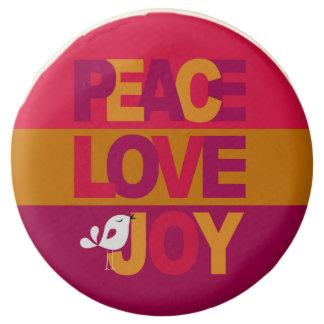Peace Love Joy Birdy Christmas   gold purple Chocolate Covered Oreo