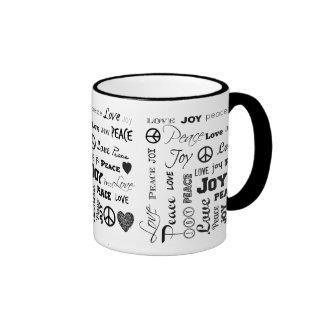 Peace Love Joy Black and White Mug
