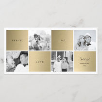 Peace Love Joy Blocks Photo Collage Holiday Card
