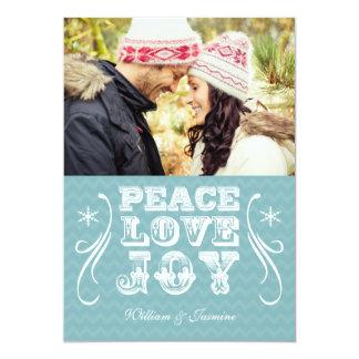 PEACE LOVE JOY Blue Chevron Holiday Flat Card