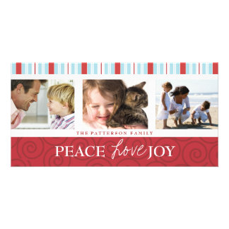 Peace Love Joy Blue & Red Holiday Photo Collage Picture Card