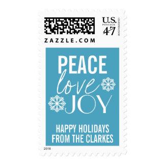 Peace Love Joy Blue Snowflake Holiday Postage