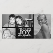 Peace Love Joy Chalkboard - 3 photos Holiday Card