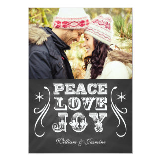 PEACE LOVE JOY Chalkboard Holiday Flat Card