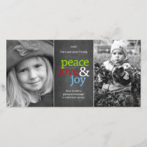 Peace Love & Joy - Chalkboard Holiday Photo Card